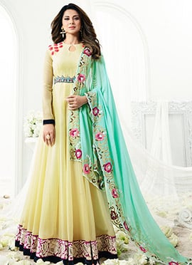 Jennifer Winget Cream Georgette Anarkali suit