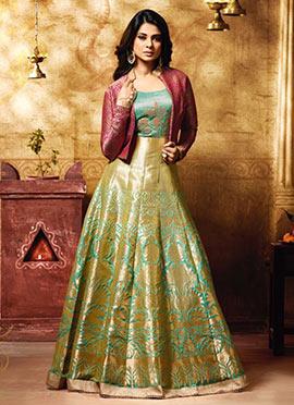 Jennifer Winget Green Anarkali Suit