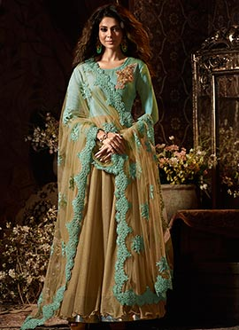 Jennifer Winget Green N Beige Abaya Style anarkali Suit