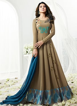 Jennifer Winget Grey Georgette Anarkali suit