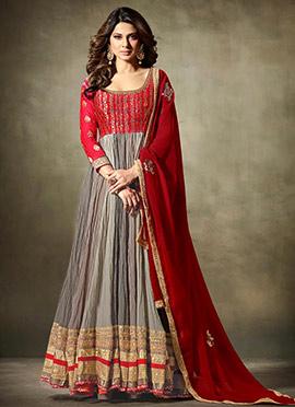 Jennifer Winget Grey N Red Anarkali Suit
