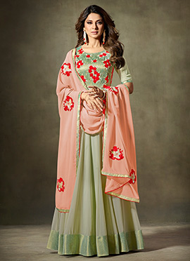 Jennifer Winget Light Green Anarkali Suit