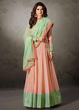 Jennifer Winget Light Peach Abaya Style Anarkali Suit