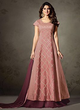 Jennifer Winget Mauve Art Silk Long Choli Lehenga