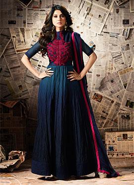 Jennifer Winget Navy Blue Anarkali Suit