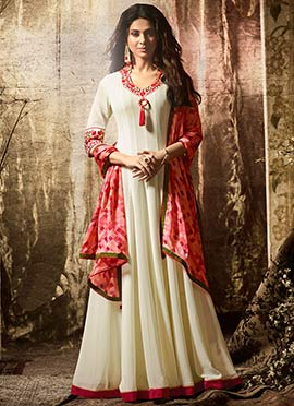 Jennifer Winget Off White Abaya Style Anarkali Suit