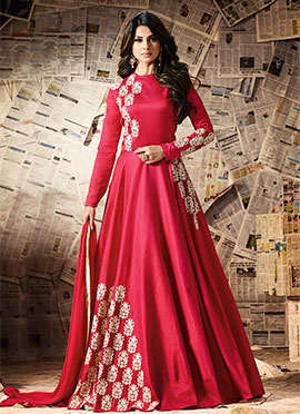 Jennifer Winget Red Art Silk Anarkali Suit