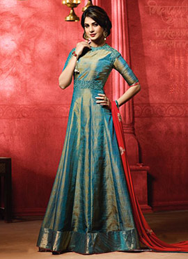 Jennifer Winget Teal Blue Anarkali Suit