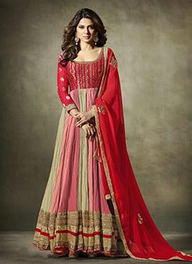 Jennifer Winget Tricolor Abaya Style Anarkali Suit