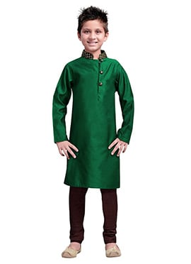 k And U Green Kurta Pyjama