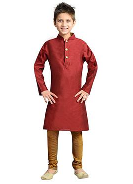 k And U Red Kurta Pyjama