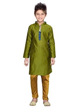 K And Olive Green Kurta Pyjama