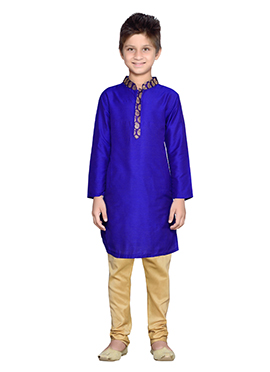 K And U Blue Silk Cotton Kurta Pyjama