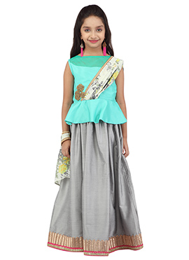K And U Grey N Turquoise Kids Lehenga Choli