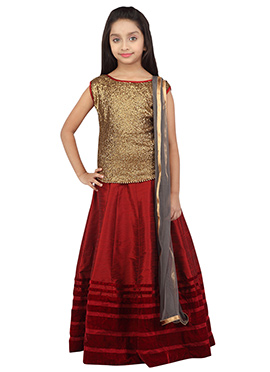 K And U Maroon N Golden Color Kids Lehenga Choli
