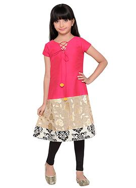 K And U presents Art Silk Cotton Kids Dress