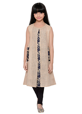 K And U presents Beige Jute Kids Dress