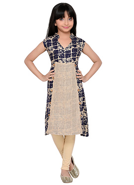 K And U presents Beige N Navy Blue Kids Dress