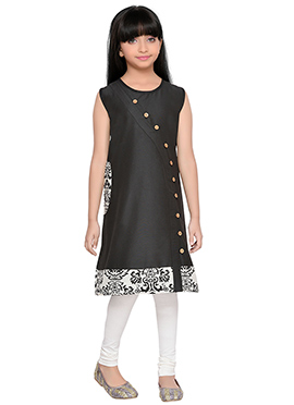 K And U presents Black Art Silk Cotton Kids Dress