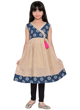 K And U presents Blue N Beige Kids Dress
