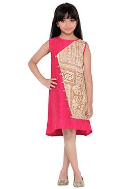 K And U presents Dark Pink N Beige Kids Dress