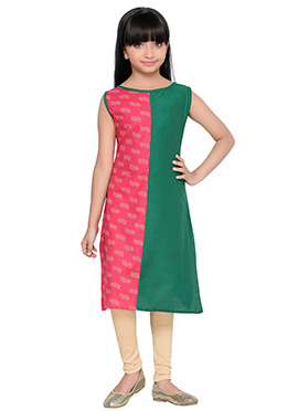 K And U presents Green N Red Printed Kids Dress