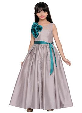 K And U presents Grey Kids Anarkali Gown