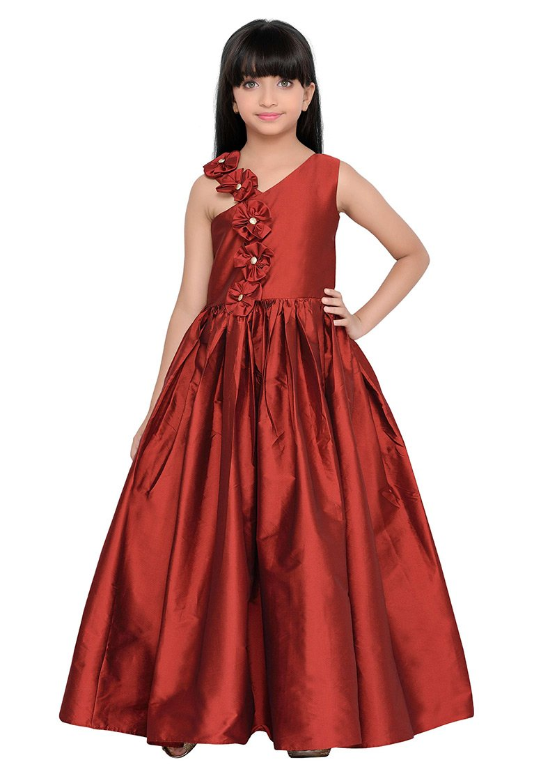 Buy K And U presents Kids One Shoulder Gown, Party Wear, girls ...