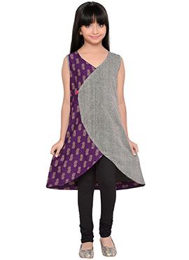 K And U presents Purple N Grey Kids Dress