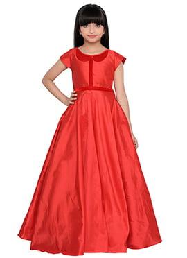 K And U presents Red Taffeta Kids Anarkali Gown