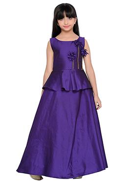 K And U presents Violet Kids Anarkali Gown