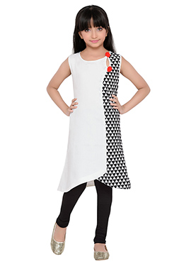 K And U presents White N Black Kids Dress