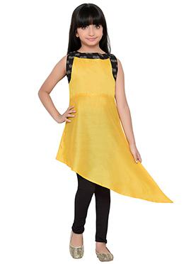 K And U presents Yellow Asymmetrical Kids Dress