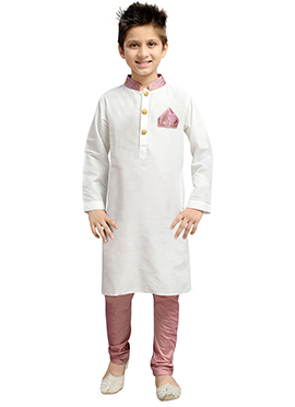 k And U White Kurta Pyjama