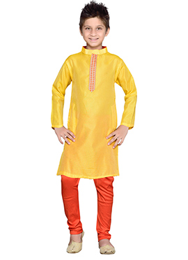 K And U Yellow Art Silk Kurta Pyjama