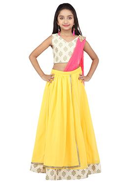 K And U Yellow Kids Lehenga Choli