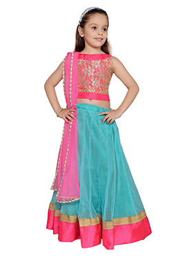 K N U Aqua Blue Net Kids Lehenga Choli
