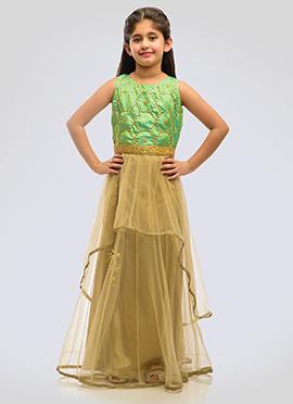 K N U Beige N Green Kids Layered Anarkali Gown