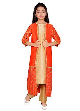 K N U Beige N Orange Straight Pant Set