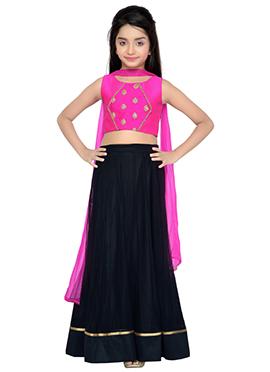 K N U Black N Pink Kids A Line Lehenga Choli
