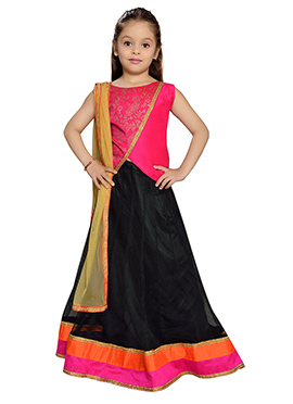 K N U Black Net Kids Lehenga Choli