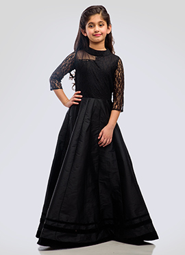 K N U Black Taffeta Silk N Net Kids Anarkali Gown