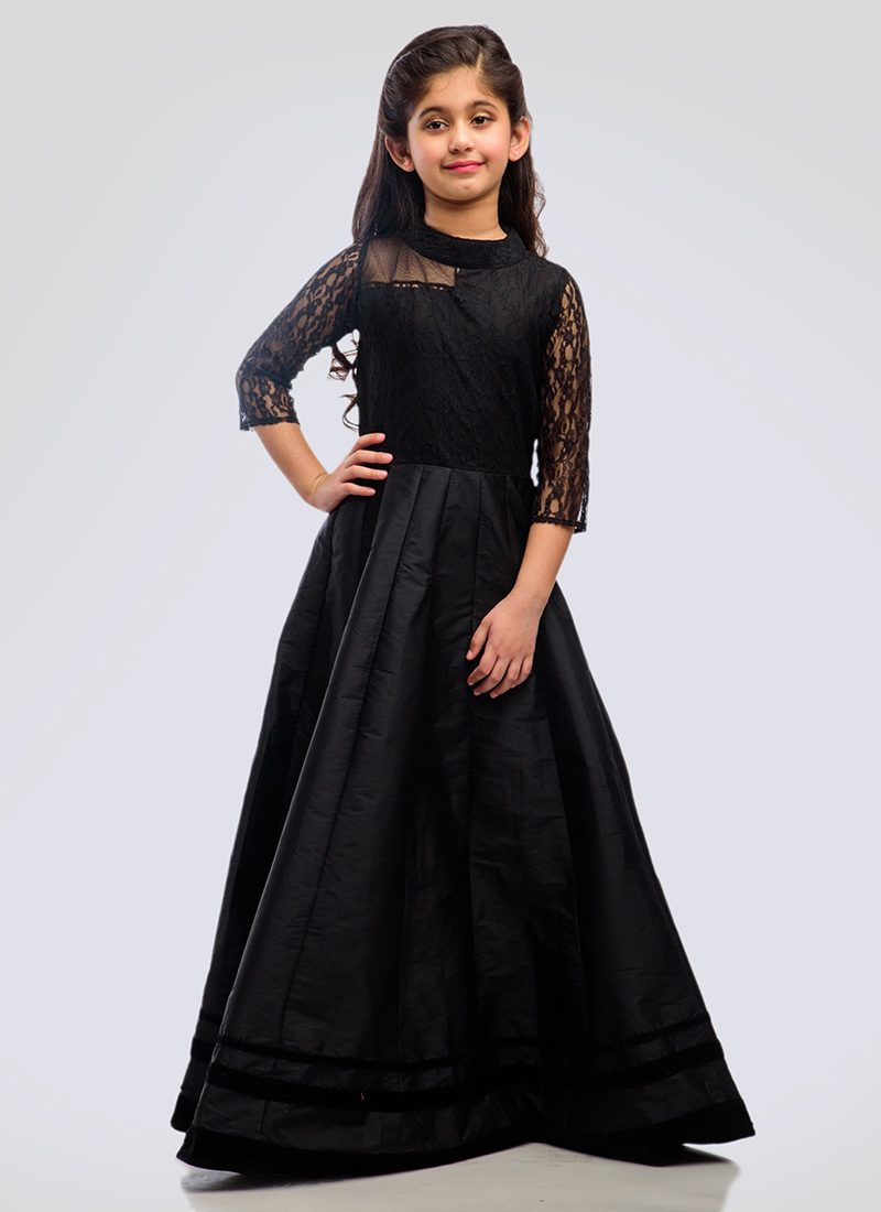 Buy K N U Black Taffeta Silk N Net Kids Anarkali Gown, girls-gown ...