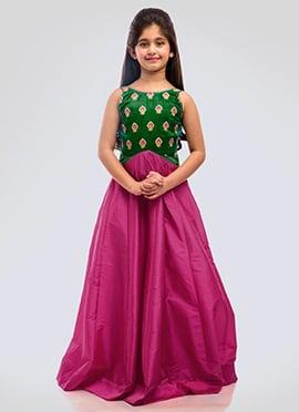 K N U Blue N Salmon Pink Kids Anarkali Gown