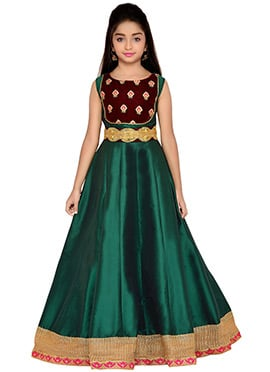 K N U Bottle Green Kids Anarkali Gown
