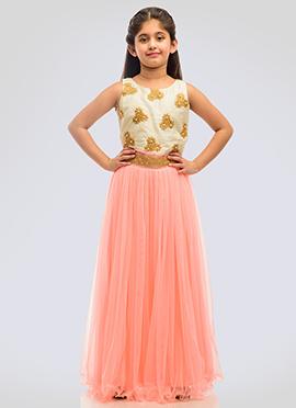 K N U Cream N Light Peach Kids Anarkali Gown