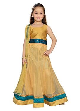 K N U Gold Net Kids Lehenga Choli