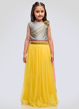 K N U Grey N Yellow Kids Umbrella Lehenga choli