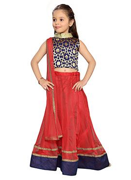 K N U Kids Red Lehenga Choli