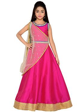 K N U Magenta Kids Anarkali Gown